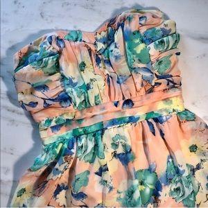 Pastel strapless floral dress